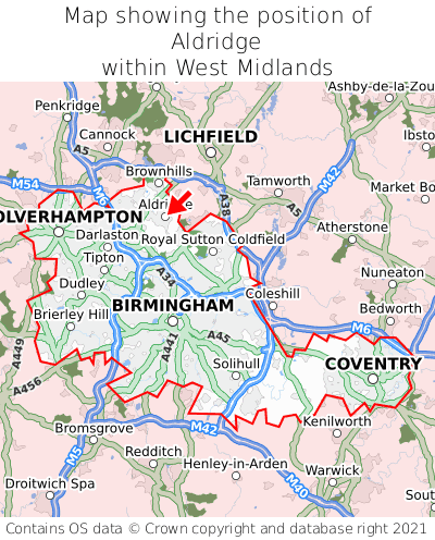 Map showing location of Aldridge within West Midlands