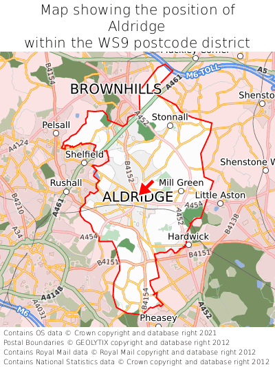 Map showing location of Aldridge within WS9