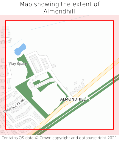 Map showing extent of Almondhill as bounding box