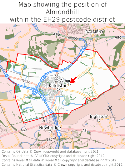 Map showing location of Almondhill within EH29
