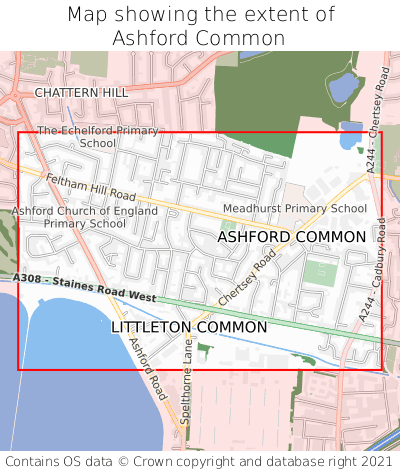 Map showing extent of Ashford Common as bounding box
