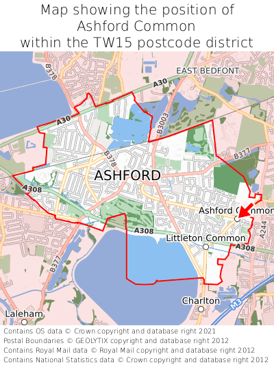 Map showing location of Ashford Common within TW15