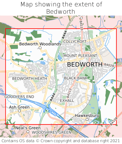Map showing extent of Bedworth as bounding box