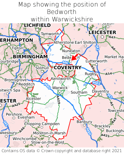 Map showing location of Bedworth within Warwickshire