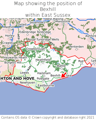 Map showing location of Bexhill within East Sussex