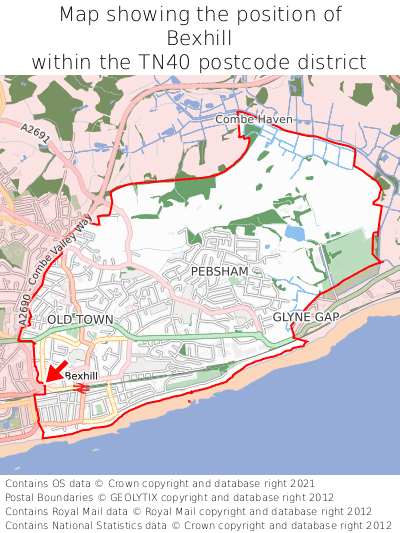 Map showing location of Bexhill within TN40