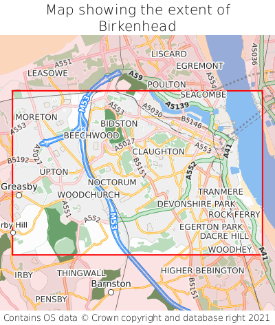 Map showing extent of Birkenhead as bounding box