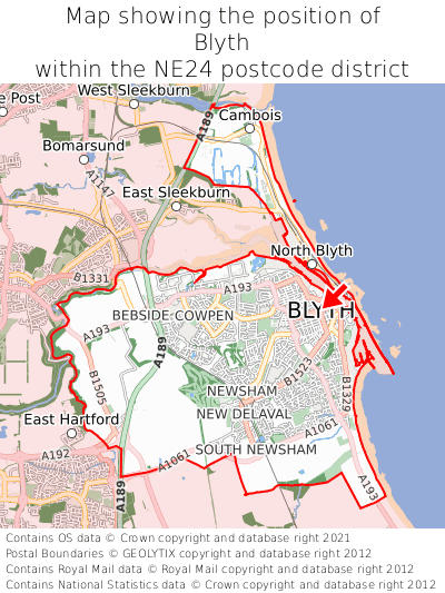 Map showing location of Blyth within NE24