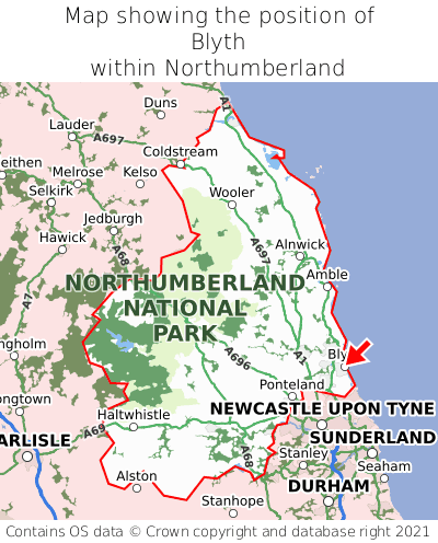 Map showing location of Blyth within Northumberland