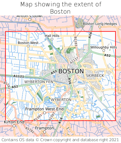 Map showing extent of Boston as bounding box