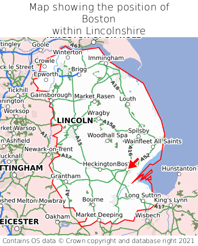 Map showing location of Boston within Lincolnshire