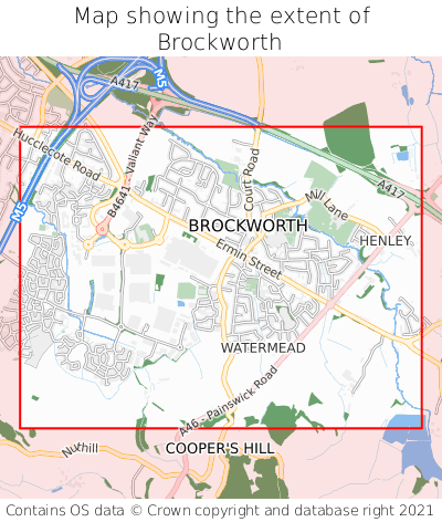 Map showing extent of Brockworth as bounding box