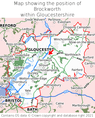 Map showing location of Brockworth within Gloucestershire