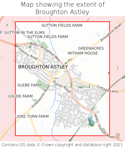 Map showing extent of Broughton Astley as bounding box