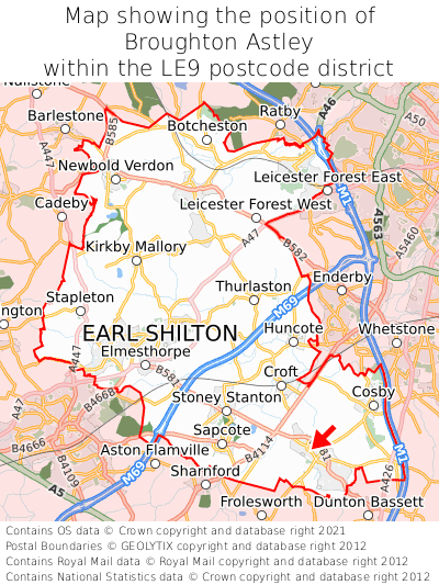 Map showing location of Broughton Astley within LE9