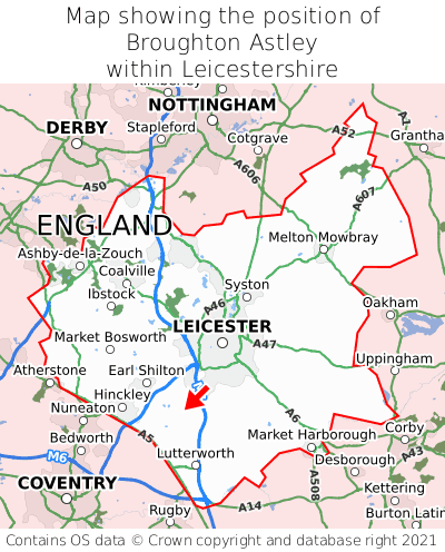 Map showing location of Broughton Astley within Leicestershire