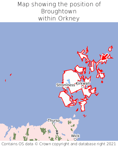Map showing location of Broughtown within Orkney