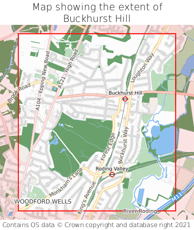 Map showing extent of Buckhurst Hill as bounding box