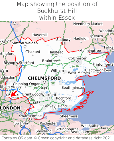 Map showing location of Buckhurst Hill within Essex
