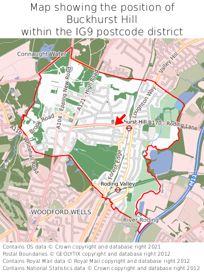 Map showing location of Buckhurst Hill within IG9