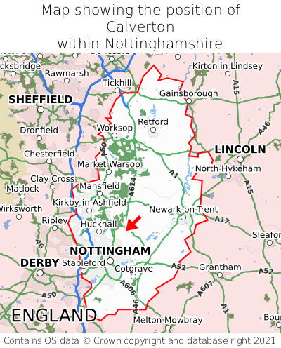 Map showing location of Calverton within Nottinghamshire