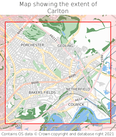 Map showing extent of Carlton as bounding box
