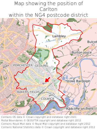 Map showing location of Carlton within NG4