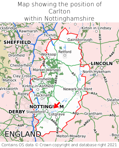 Map showing location of Carlton within Nottinghamshire