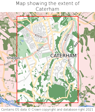 Map showing extent of Caterham as bounding box
