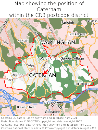 Map showing location of Caterham within CR3