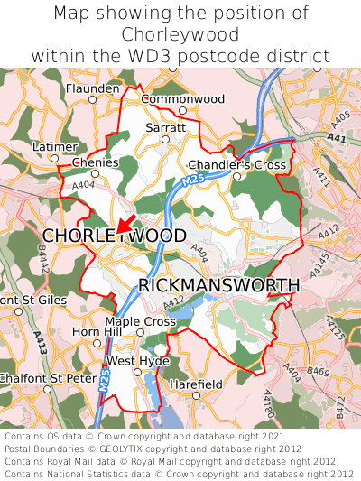 Map showing location of Chorleywood within WD3