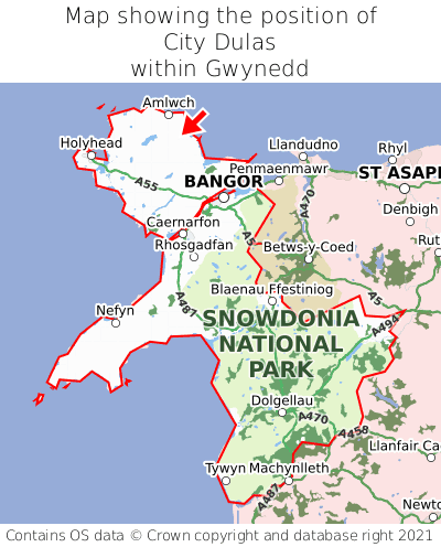 Map showing location of City Dulas within Gwynedd