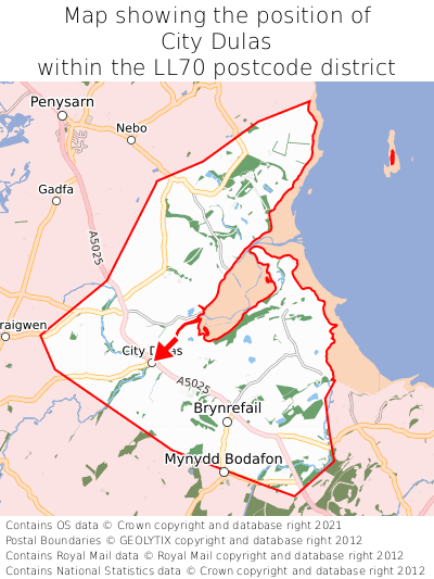 Map showing location of City Dulas within LL70