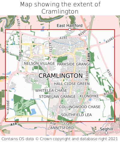 Map showing extent of Cramlington as bounding box