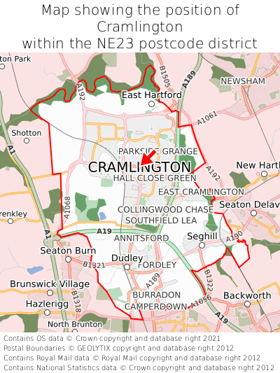 Map showing location of Cramlington within NE23