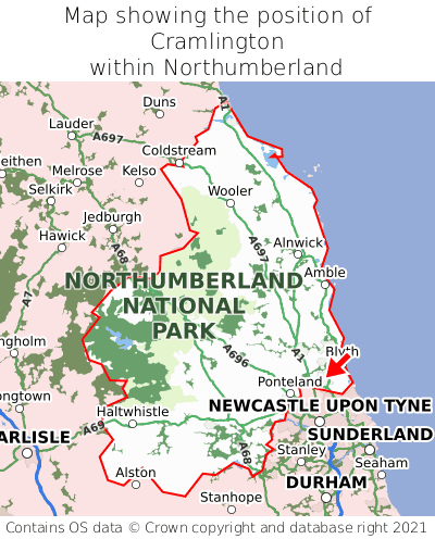 Map showing location of Cramlington within Northumberland