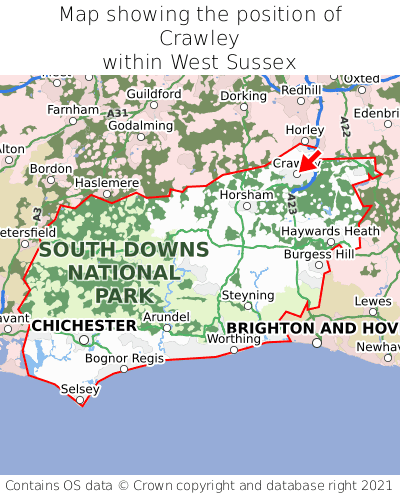 Map showing location of Crawley within West Sussex