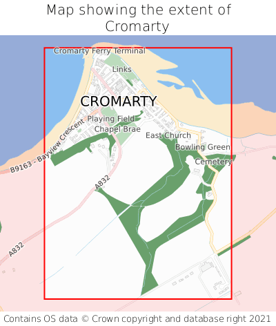 Map showing extent of Cromarty as bounding box