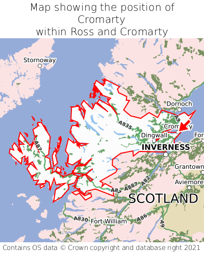 Map showing location of Cromarty within Ross and Cromarty