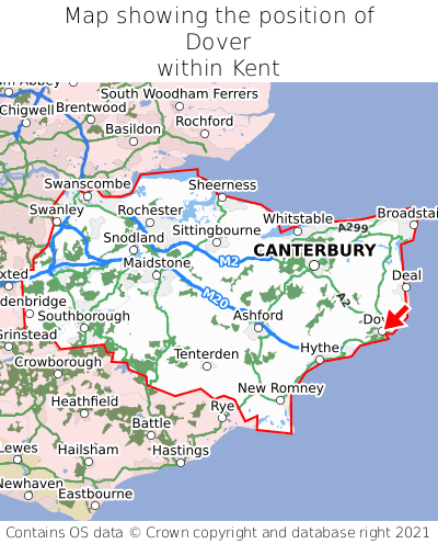 Map showing location of Dover within Kent