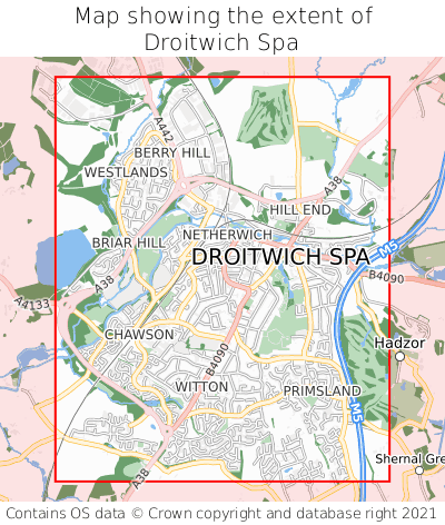 Map showing extent of Droitwich Spa as bounding box