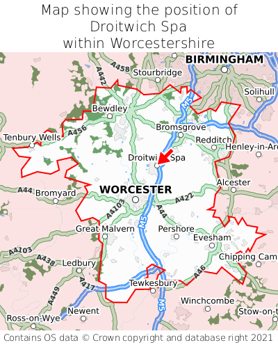 Map showing location of Droitwich Spa within Worcestershire