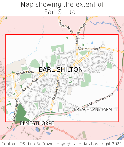 Map showing extent of Earl Shilton as bounding box
