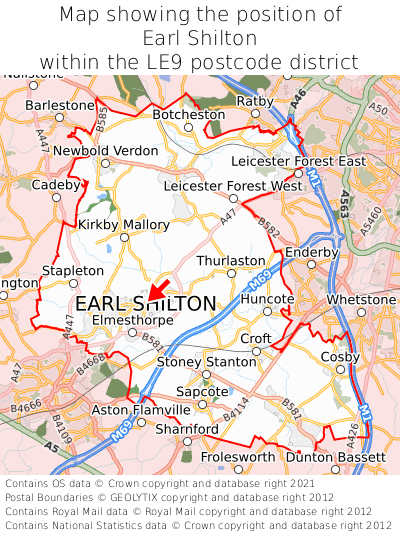 Map showing location of Earl Shilton within LE9