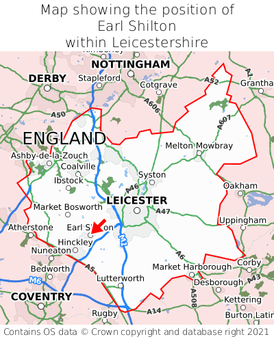 Map showing location of Earl Shilton within Leicestershire