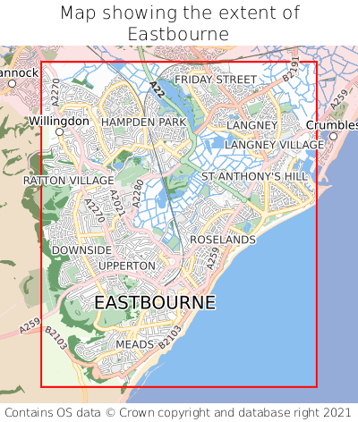 Map showing extent of Eastbourne as bounding box