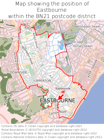 Map showing location of Eastbourne within BN21