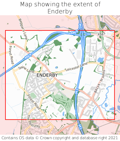 Map showing extent of Enderby as bounding box