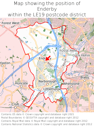 Map showing location of Enderby within LE19