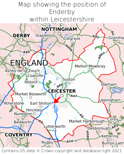 Map showing location of Enderby within Leicestershire